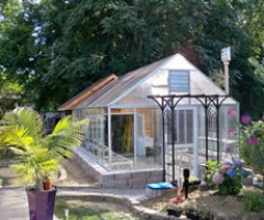 Reverse Gable Attached Greenhouse