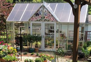 Custom designed stained glass for greenhouse